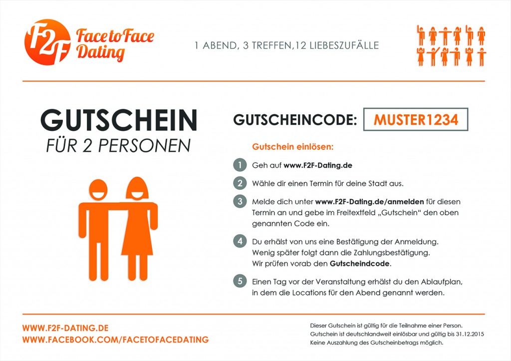 Gutschein Face to Face Dating